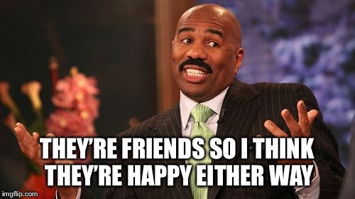 Steve Harvey Meme | THEY'RE FRIENDS SO I THINK THEY'RE HAPPY EITHER WAY | image tagged in memes,steve harvey | made w/ Imgflip meme maker