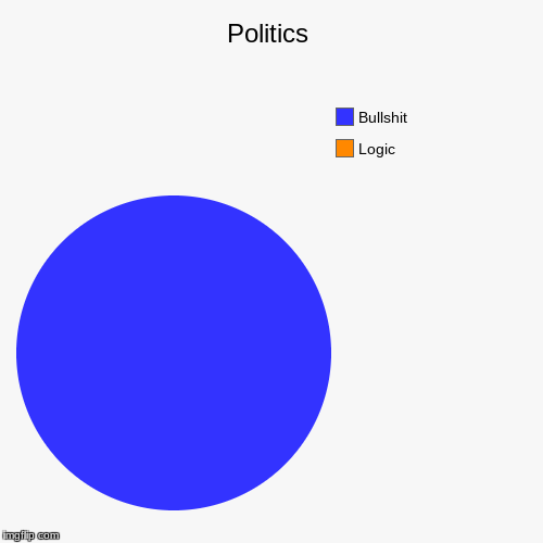 Politics | Logic, Bullshit | image tagged in funny,pie charts | made w/ Imgflip pie chart maker