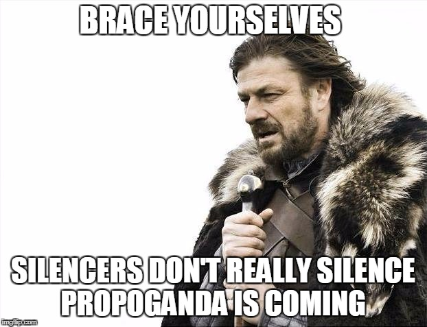 SILENCE | BRACE YOURSELVES SILENCERS DON'T REALLY SILENCE PROPOGANDA IS COMING | image tagged in memes,brace yourselves x is coming | made w/ Imgflip meme maker