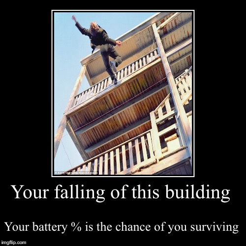 Your falling of this building | Your battery % is the chance of you surviving | image tagged in funny,demotivationals | made w/ Imgflip demotivational maker
