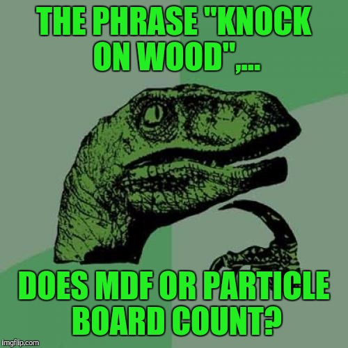"Philosoraptor Meme | THE PHRASE ""KNOCK ON WOOD"",... DOES MDF OR PARTICLE BOARD COUNT? 