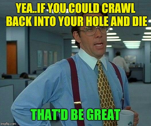That Would Be Great Meme | YEA..IF YOU COULD CRAWL BACK INTO YOUR HOLE AND DIE THAT'D BE GREAT | image tagged in memes,that would be great | made w/ Imgflip meme maker