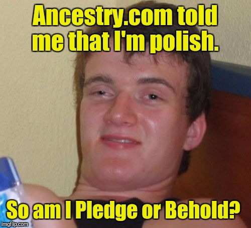 Submitted by suggestion of hokiewolf.  | Ancestry.com told me that I'm polish. So am I Pledge or Behold? | image tagged in memes,10 guy | made w/ Imgflip meme maker