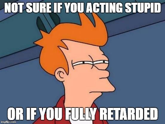 Futurama Fry Meme | NOT SURE IF YOU ACTING STUPID OR IF YOU FULLY RETARDED | image tagged in memes,futurama fry | made w/ Imgflip meme maker