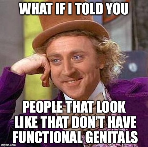 Creepy Condescending Wonka Meme | WHAT IF I TOLD YOU PEOPLE THAT LOOK LIKE THAT DON'T HAVE FUNCTIONAL GENITALS | image tagged in memes,creepy condescending wonka | made w/ Imgflip meme maker