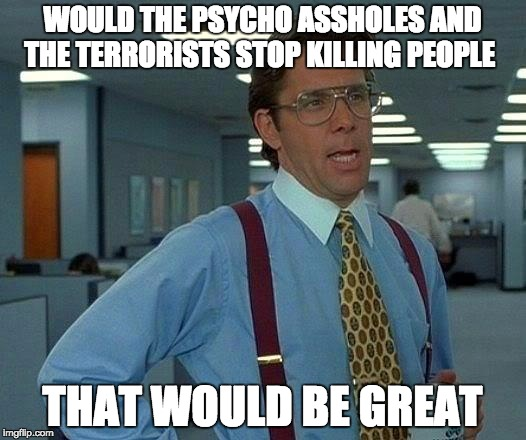 My heart goes out to the victims of the vegas attack  | WOULD THE PSYCHO ASSHOLES AND THE TERRORISTS STOP KILLING PEOPLE THAT WOULD BE GREAT | image tagged in memes,that would be great,terrorist,psycho,vegas | made w/ Imgflip meme maker