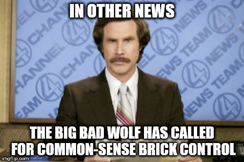 Ron Burgundy Meme | IN OTHER NEWS THE BIG BAD WOLF HAS CALLED FOR COMMON-SENSE BRICK CONTROL | image tagged in memes,ron burgundy | made w/ Imgflip meme maker
