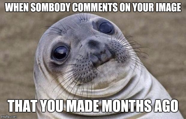 Awkward Moment Sealion Meme | WHEN SOMBODY COMMENTS ON YOUR IMAGE THAT YOU MADE MONTHS AGO | image tagged in memes,awkward moment sealion | made w/ Imgflip meme maker