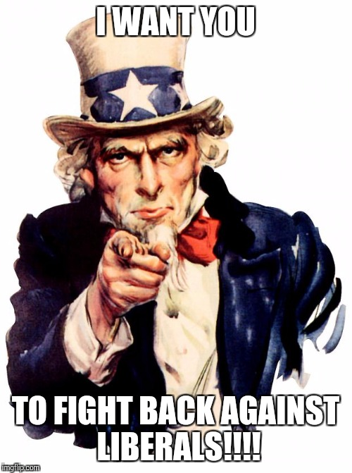 Uncle Sam Meme | I WANT YOU TO FIGHT BACK AGAINST LIBERALS!!!! | image tagged in memes,uncle sam | made w/ Imgflip meme maker