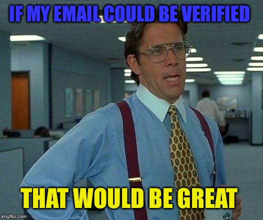 That Would Be Great Meme | IF MY EMAIL COULD BE VERIFIED THAT WOULD BE GREAT | image tagged in memes,that would be great | made w/ Imgflip meme maker