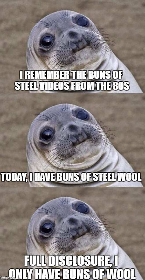 Triple sealion | I REMEMBER THE BUNS OF STEEL VIDEOS FROM THE 80S TODAY, I HAVE BUNS OF STEEL WOOL FULL DISCLOSURE, I ONLY HAVE BUNS OF WOOL | image tagged in awkward moment sealion | made w/ Imgflip meme maker