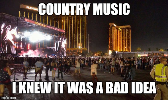 Sorry. Too soon? | COUNTRY MUSIC I KNEW IT WAS A BAD IDEA | image tagged in mandalay bay shooting,country music is evil | made w/ Imgflip meme maker