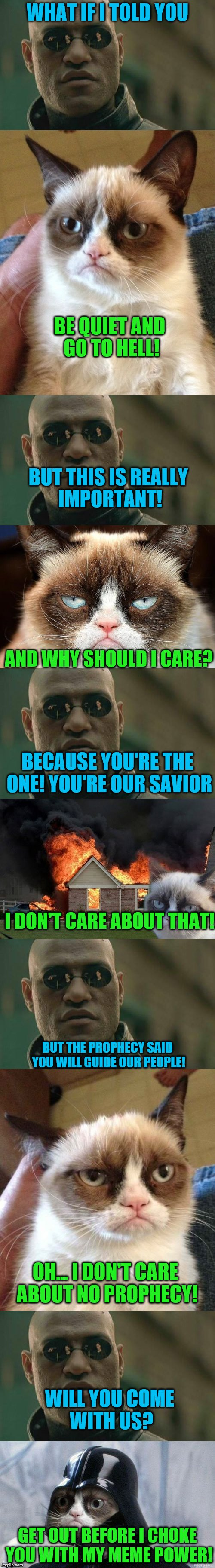 Best collab since Space Marines! blew up MLP! | WHAT IF I TOLD YOU GET OUT BEFORE I CHOKE YOU WITH MY MEME POWER! BE QUIET AND GO TO HELL! BUT THIS IS REALLY IMPORTANT! AND WHY SHOULD I CA | image tagged in meme wars week,memes,matrix morpheus,grumpy cat | made w/ Imgflip meme maker