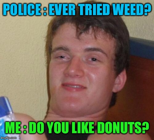 10 Guy Meme | POLICE : EVER TRIED WEED? ME : DO YOU LIKE DONUTS? | image tagged in memes,10 guy | made w/ Imgflip meme maker
