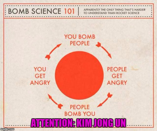 Kim Jog Unsmart!!! | ATTENTION: KIM JONG UN | image tagged in bomb science 101,memes,kim jong un,funny,common sense,bombs | made w/ Imgflip meme maker