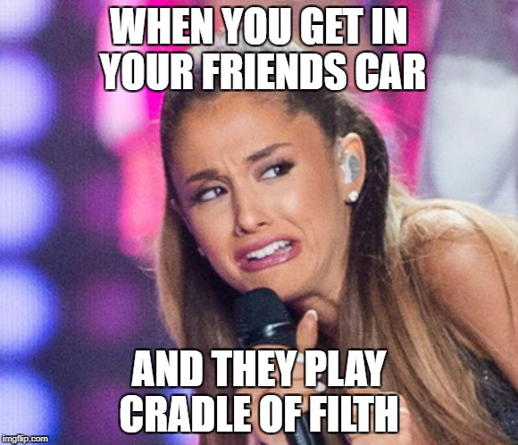 WHEN YOU GET IN YOUR FRIENDS CAR AND THEY PLAY CRADLE OF FILTH | image tagged in cringe fucker,memes,cringe,cradle of filth | made w/ Imgflip meme maker