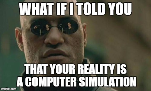 Matrix Morpheus Meme | WHAT IF I TOLD YOU THAT YOUR REALITY IS A COMPUTER SIMULATION | image tagged in memes,matrix morpheus | made w/ Imgflip meme maker