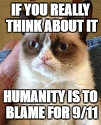 IF YOU REALLY THINK ABOUT IT HUMANITY IS TO BLAME FOR 9/11 | made w/ Imgflip meme maker