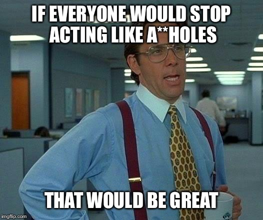 That Would Be Great Meme | IF EVERYONE WOULD STOP ACTING LIKE A**HOLES THAT WOULD BE GREAT | image tagged in memes,that would be great | made w/ Imgflip meme maker