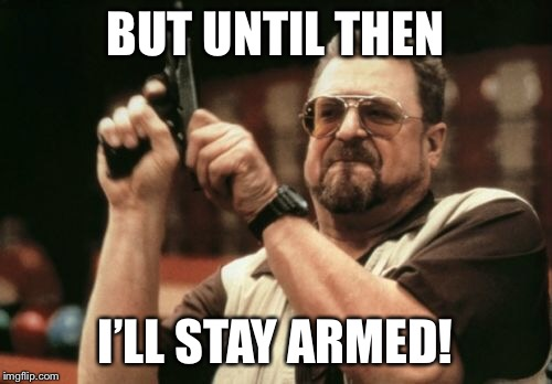Am I The Only One Around Here Meme | BUT UNTIL THEN I'LL STAY ARMED! | image tagged in memes,am i the only one around here | made w/ Imgflip meme maker