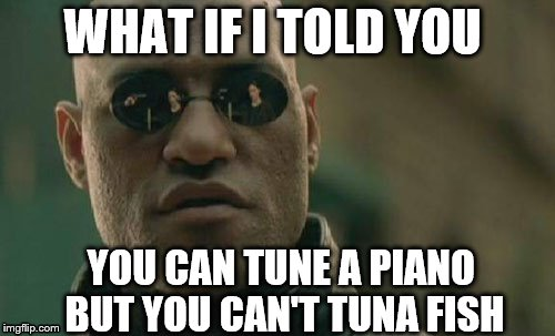 Matrix Morpheus R.E.O | WHAT IF I TOLD YOU YOU CAN TUNE A PIANO BUT YOU CAN'T TUNA FISH | image tagged in memes,matrix morpheus | made w/ Imgflip meme maker