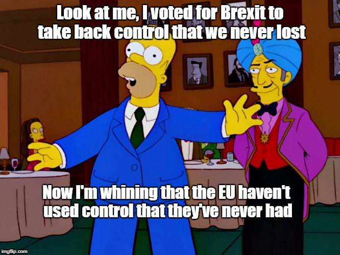 Catalonia and Brexiters | Look at me, I voted for Brexit to take back control that we never lost Now I'm whining that the EU haven't used control that they've never h | image tagged in brexit,idiots,morons | made w/ Imgflip meme maker