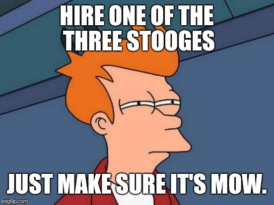 Futurama Fry Meme | HIRE ONE OF THE THREE STOOGES JUST MAKE SURE IT'S MOW. | image tagged in memes,futurama fry | made w/ Imgflip meme maker