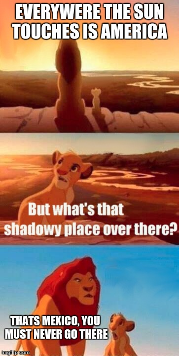 Simba Shadowy Place Meme | EVERYWERE THE SUN TOUCHES IS AMERICA THATS MEXICO, YOU MUST NEVER GO THERE | image tagged in memes,simba shadowy place | made w/ Imgflip meme maker