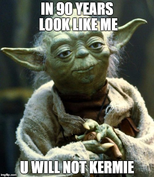 Star Wars Yoda Meme | IN 90 YEARS LOOK LIKE ME U WILL NOT KERMIE | image tagged in memes,star wars yoda | made w/ Imgflip meme maker