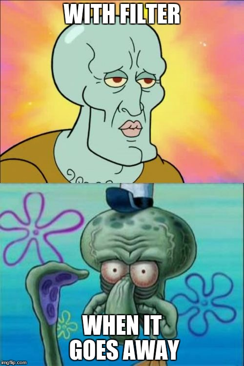 Squidward Meme | WITH FILTER WHEN IT GOES AWAY | image tagged in memes,squidward | made w/ Imgflip meme maker