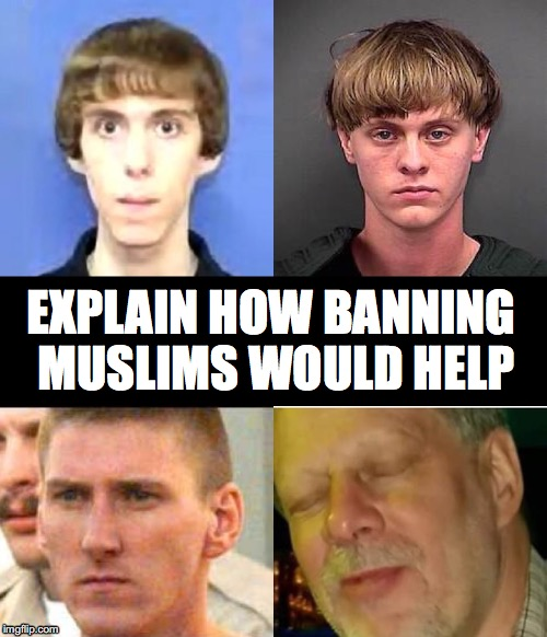 TRUMP ILLOGIC | EXPLAIN HOW BANNING MUSLIMS WOULD HELP | image tagged in donald trump | made w/ Imgflip meme maker