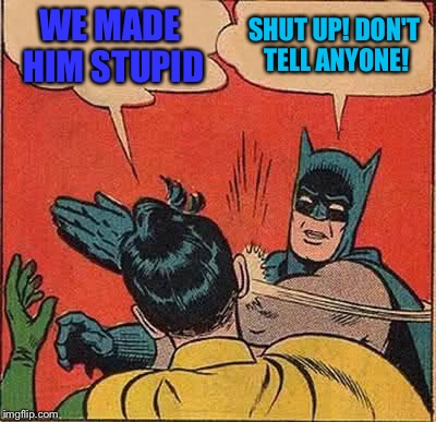 Batman Slapping Robin Meme | WE MADE HIM STUPID SHUT UP! DON'T TELL ANYONE! | image tagged in memes,batman slapping robin | made w/ Imgflip meme maker