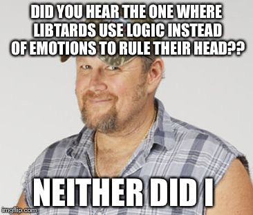 Larry The Cable Guy Meme | DID YOU HEAR THE ONE WHERE LIBTARDS USE LOGIC INSTEAD OF EMOTIONS TO RULE THEIR HEAD?? NEITHER DID I | image tagged in memes,larry the cable guy | made w/ Imgflip meme maker