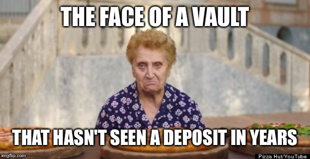 THE FACE OF A VAULT THAT HASN'T SEEN A DEPOSIT IN YEARS | made w/ Imgflip meme maker