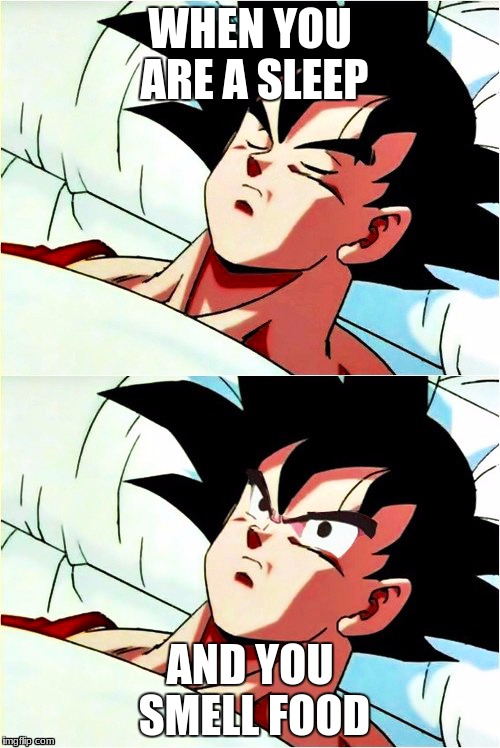 goku sleeping wake up | WHEN YOU ARE A SLEEP AND YOU SMELL FOOD | image tagged in goku sleeping wake up | made w/ Imgflip meme maker