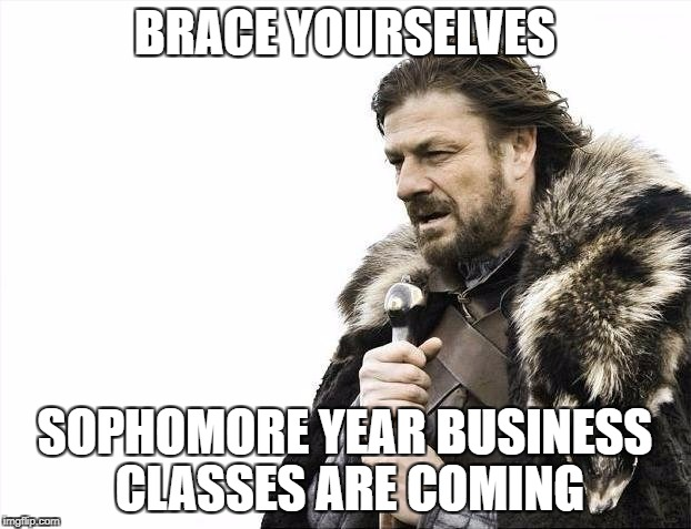 Brace Yourselves X is Coming Meme | BRACE YOURSELVES SOPHOMORE YEAR BUSINESS CLASSES ARE COMING | image tagged in memes,brace yourselves x is coming | made w/ Imgflip meme maker