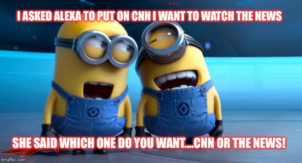 MINIONS | I ASKED ALEXA TO PUT ON CNN I WANT TO WATCH THE NEWS SHE SAID WHICH ONE DO YOU WANT....CNN OR THE NEWS! | image tagged in minions | made w/ Imgflip meme maker