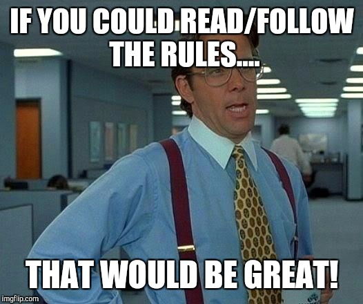 That Would Be Great Meme | IF YOU COULD READ/FOLLOW THE RULES.... THAT WOULD BE GREAT! | image tagged in memes,that would be great | made w/ Imgflip meme maker