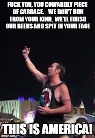 This is America! | F**K YOU, YOU COWARDLY PIECE OF GARBAGE.   WE DON'T RUN FROM YOUR KIND,  WE'LL FINISH OUR BEERS AND SPIT IN YOUR FACE THIS IS AMERICA! | image tagged in vegas shooting | made w/ Imgflip meme maker