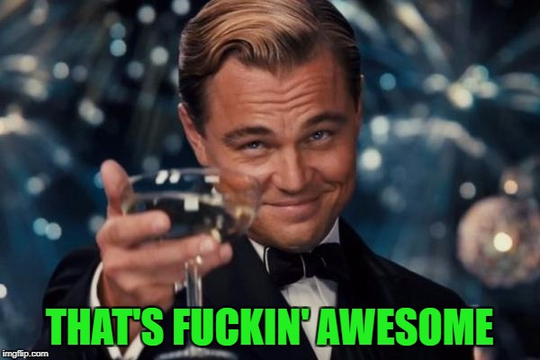 Leonardo Dicaprio Cheers Meme | THAT'S F**KIN' AWESOME | image tagged in memes,leonardo dicaprio cheers | made w/ Imgflip meme maker