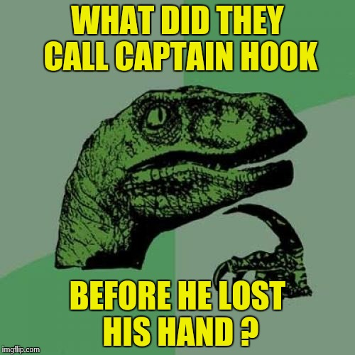 A quandary to ponder |  WHAT DID THEY CALL CAPTAIN HOOK; BEFORE HE LOST HIS HAND ? | image tagged in memes,philosoraptor,captain hook,waka waka,who are you people | made w/ Imgflip meme maker