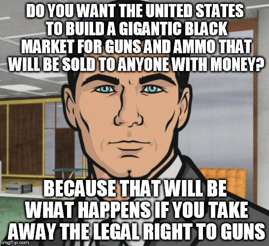 Archer Meme | DO YOU WANT THE UNITED STATES TO BUILD A GIGANTIC BLACK MARKET FOR GUNS AND AMMO THAT WILL BE SOLD TO ANYONE WITH MONEY? BECAUSE THAT WILL B | image tagged in memes,archer | made w/ Imgflip meme maker
