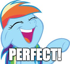Rainbow Dash laughing | PERFECT! | image tagged in rainbow dash laughing | made w/ Imgflip meme maker