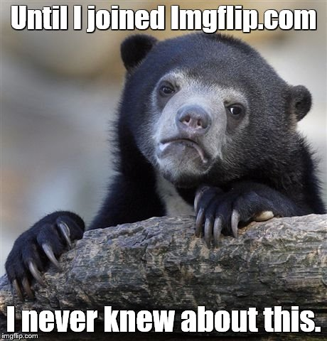 Confession Bear Meme | Until I joined Imgflip.com I never knew about this. | image tagged in memes,confession bear | made w/ Imgflip meme maker