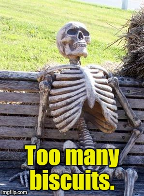 Waiting Skeleton Meme | Too many biscuits. | image tagged in memes,waiting skeleton | made w/ Imgflip meme maker