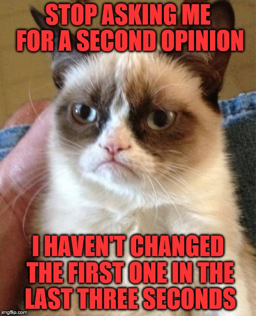 Grumpy Cat Meme | STOP ASKING ME FOR A SECOND OPINION I HAVEN'T CHANGED THE FIRST ONE IN THE LAST THREE SECONDS | image tagged in memes,grumpy cat | made w/ Imgflip meme maker