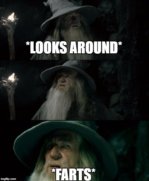 Confused Gandalf Meme | *LOOKS AROUND* *FARTS* | image tagged in memes,confused gandalf | made w/ Imgflip meme maker