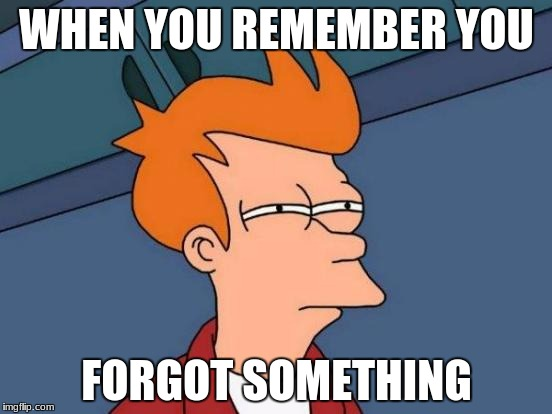 Futurama Fry Meme | WHEN YOU REMEMBER YOU FORGOT SOMETHING | image tagged in memes,futurama fry | made w/ Imgflip meme maker