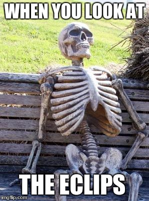 Waiting Skeleton Meme | WHEN YOU LOOK AT THE ECLIPS | image tagged in memes,waiting skeleton | made w/ Imgflip meme maker