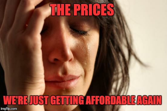 First World Problems Meme | THE PRICES WE'RE JUST GETTING AFFORDABLE AGAIN | image tagged in memes,first world problems | made w/ Imgflip meme maker